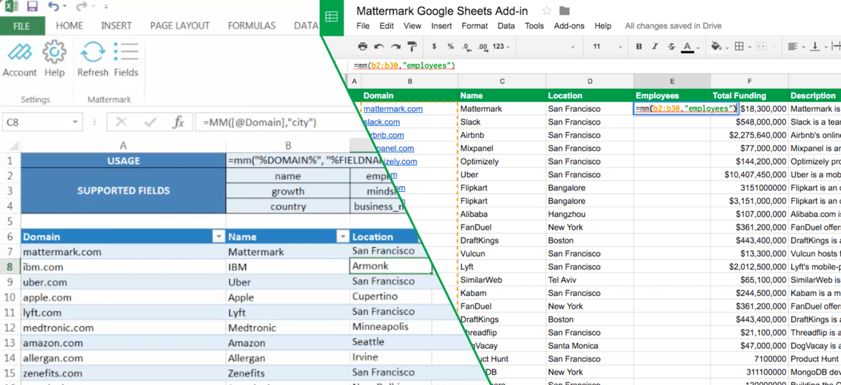 Mattermark data for Google Sheets and Excel
