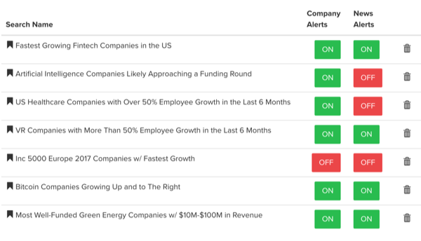 Mattermark's Saved Lists Search Feature